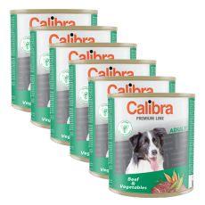 Konzerva CALIBRA Premium Adult - hovädzie a zelenina, 6 x 800 g, 5 + 1 GRATIS