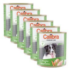 Konzerva CALIBRA Premium Adult - hydina a zelenina, 6 x 800 g, 5 + 1 GRATIS