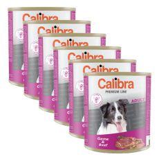 Konzerva CALIBRA Premium Adult - zverina a hovädzie, 6 x 800 g, 5 + 1 GRATIS