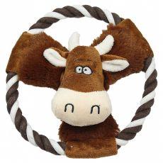 Plyšová pískajúca krava na lane, 20 cm