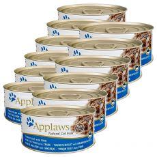 Applaws Cat - konzerva pre mačky s tuniakom a krabom, 12 x 70g