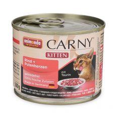 Krmivo CARNY KITTEN hovädzie + morčacie srdcia 200 g