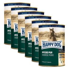 Happy Dog Pur - Pferd / kôň, 6 x 400g, 5+1 GRATIS