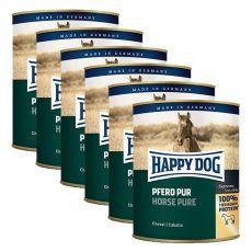Happy Dog Pur - Pferd / kôň, 6 x 800g, 5+1 GRATIS
