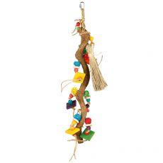 Hračka pre vtáky - konár s hračkami, 49 cm