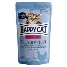 Kapsička Happy Cat ALL MEAT Adult Sterilised Chicken & Trout 85 g