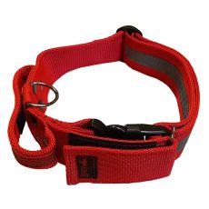 Červený bezpečnostný obojok s rúčkou 40 - 65 cm, 40 mm