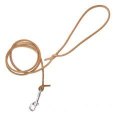 Okrúhle kožené vodítko pre psy, béžové 120 cm / 8 mm