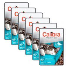 CALIBRA Cat Adult kúsky so pstruhom a lososom v omáčke 6 x 100 g
