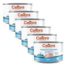 Calibra Cat Adult GF - Kura a kuracie srdcia s lososovým olejom, konzerva 6 x 200g