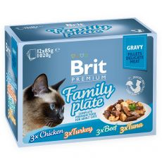 Kapsičky BRIT Premium Cat Delicate Fillets in Gravy Family Plate 12 x 85 g