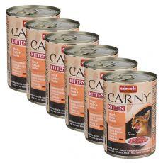 Krmivo CARNY KITTEN hovädzie, teľacie + kura 6 x 400 g