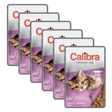 CALIBRA Cat Kitten kúsky s lososom v omáčke 6 x 100 g
