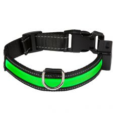 Svietiaci USB obojok EYENIMAL, zelený L