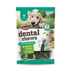 Dentálne kefky DENTAL Chews Super Toothbrush s mätou a čajom 170 g / 11 ks