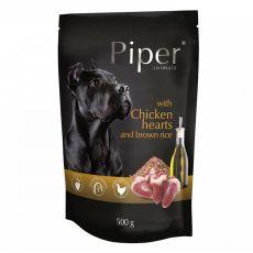 Kapsička Piper Adult s kuracími srdciami a hnedou ryžou 500 g