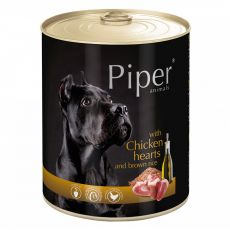 Konzerva Piper Adult s kuracími srdciami a hnedou ryžou 800 g