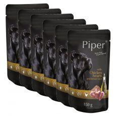 Kapsička Piper Adult s kuracími srdciami a hnedou ryžou 6 x 150 g