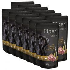 Kapsička Piper Adult s kuracími srdciami a hnedou ryžou 12 x 150 g