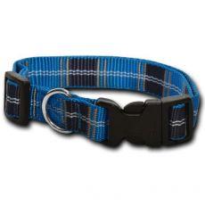 Nylonový obojok pre psa - károvaný modrý 1 x 20 - 32 cm