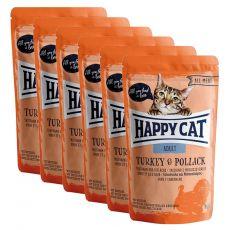 Kapsička Happy Cat ALL MEAT Adult Turkey & Pollack 6 x 85 g