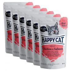 Kapsička Happy Cat MEAT IN SAUCE Adult Chicken & Salmon 6 x 85 g