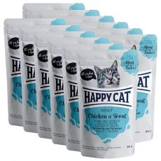 Kapsička Happy Cat MEAT IN SAUCE Adult Chicken & Trout 12 x 85 g