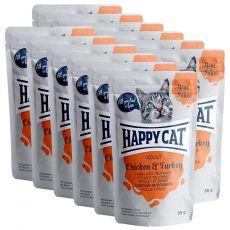 Kapsička Happy Cat MEAT IN SAUCE Adult Chicken & Turkey 12 x 85 g