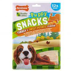 Nylabone Edible Snacks Puppy morka & sladké zemiaky S 12 ks
