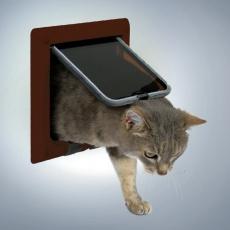 Dvierka pre mačičku so štyrmi polohami - hnedé