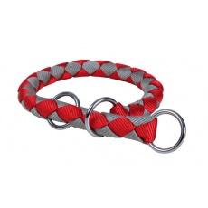 Obojok pre psy, škrtiaci, červeno - sivý - M, 39 - 45 cm