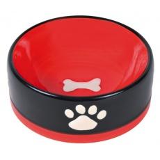 Keramická miska pre psa - čierna s bielymi labkami - 300 ml