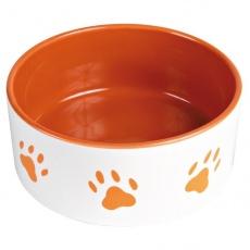 Keramická miska pre psa - oranžová - 1,4l