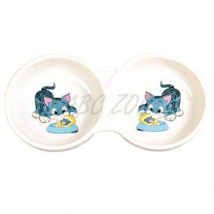 Miska pre mačiatka dvojitá, keramická - 150 ml