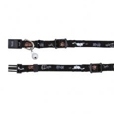 Obojok pre mačky s motívom, čierny - 15 - 20 cm