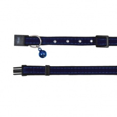 Obojok pre mačku, modrý semiš - 18 - 30 cm