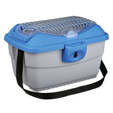 Prepravný box pre hlodavce s remeňom - modro - strieborný