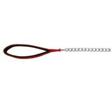 Vodítko na psa reťazové - červená rúčka, 110cm/2mm