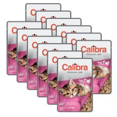 CALIBRA Cat Kitten kuracie a morčacie kúsky v omáčke 12 x 100 g