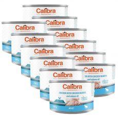 Calibra Cat Adult GF - Kura a kuracie srdcia s lososovým olejom, konzerva 12 x 200 g
