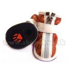 Topánky pre psy semišové - oranžové (4ks) - veľ.4