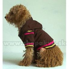 Svetrík s kapucňou pre psa - hnedý, XS