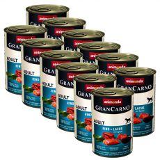 Konzerva GranCarno Original Adult hovädzie a losos + špenát - 12 x 400 g