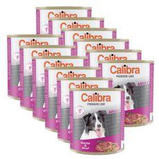 Konzerva CALIBRA Premium Adult - zverina a hovädzie, 12 x 800 g