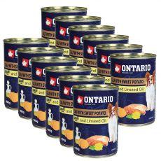 Konzerva ONTARIO Teľacie so sladkým zemiakom a ľanovým olejom – 12 x 400g
