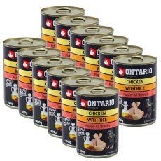 Konzerva ONTARIO Puppy pre psa, kuracie, ryža a olej - 12 x 400g