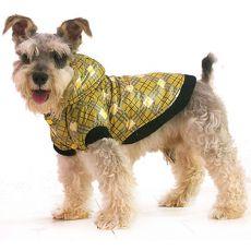 Bunda pre psa - károvaná, žltá, S