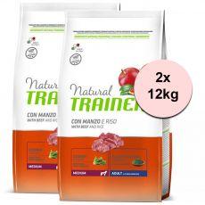 Trainer Natural Adult Medium, hovädzie a ryža 2 x 12kg
