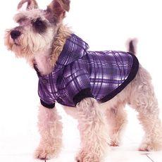 Bunda pre psa - károvaná, fialová, XL