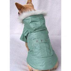 Kabátik pre psy s vreckom - zelený, L